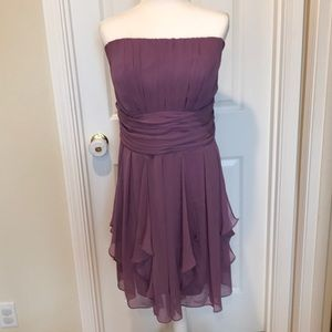 David's Bridal 18 Strapless Crinkle Chiffon Dress